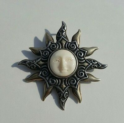 Sterling Silver Sun Face Goddess Brooch Pin Pendant