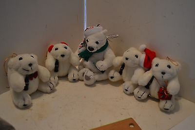 LOT 5 Collectible Coca-Cola POLAR BEAR Bean Bag Beanie Plush STUFFED COKE BEARS