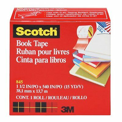 Scotch Book Repair Tape - Clear - 1 Roll - 38.1 mm x 13.7 m * Brand New *