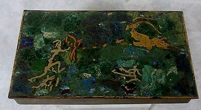 Vintage Mexican Box Brass Silver Copper Turquoise Lapis Wood Lined Hunting Scene