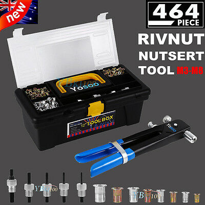 NEW Heavy Duty 464 Pc Blind Rivet Nut Nutsert Insert Tool Kit M3 to M8 Rivet Set