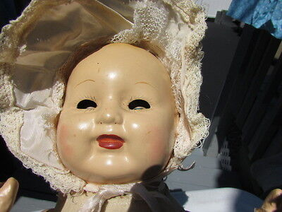 """Antique Composition Baby Doll Tin Head Cloth 14"""" Laughing Baby Adorable"""