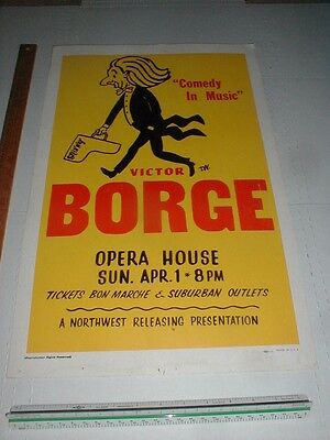 VTG Victor Borge Concert Poster BOXING STYLE Seattle Opera House PIANO COMEDY