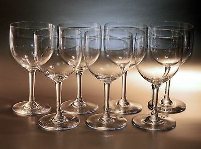 "7 Baccarat Crystal MONTAIGNE NON-OPTIC Claret Wine Goblets 5.75"" Tall, EXCELLENT"