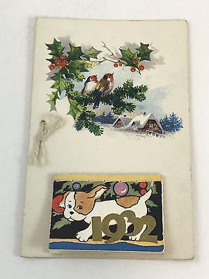 antique Christmas card calendar Germany 1932 like new old stock