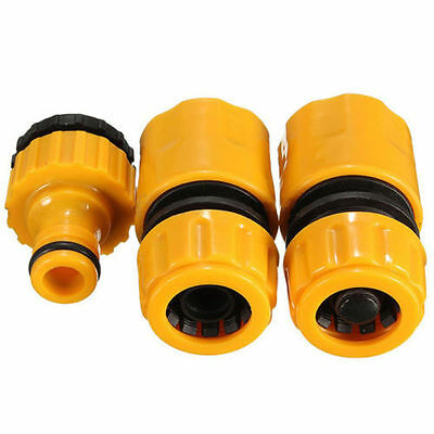 """3pc Set 1/2"""" 3/4"""" Hose Pipe Fitting Set Garden Water Connector Tap"""