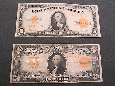 Affordable Pair 1922 $10. & $20. Large Size Gold Certificates Notes Currency