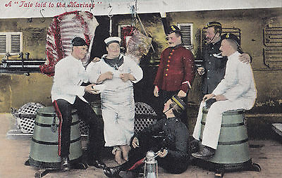 """A Tale Told to the Marines"" 1905-15 Valentine British Military Postcard"
