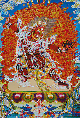 "14"" Blessed Wood Scroll Tibet Thangka: Angry Form Of Padmasambhava Master"
