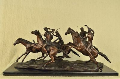 """OLD DRAGOONS Bronze Metal Sculpture by Frederic Remington 16"""" x 34"""""""