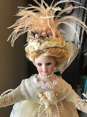 "12"" ELSIE MASSEY Victorian Ladies Springtime Collectible Porcelain Doll w/ Stand"