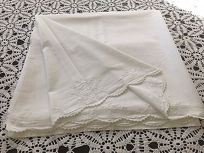 """Antique/vintage Embroidered Bed Sheet 84"""" X 80"""" With Crocheted Edge"""