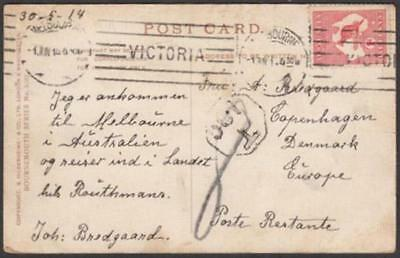 Australia 1914 picture postcard to Denmark with Kangaroo 1d red