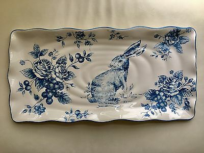 BRAND NEW Maxcera Blue And Toile Serving Platter Easter Bunny Rabbit Large Plate