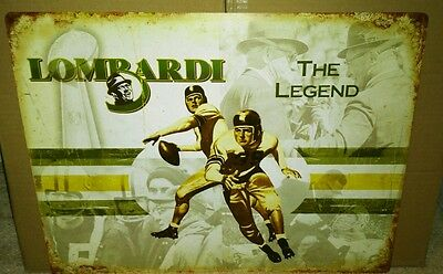 PACKERS GREAT VINCE LOMBARDI 18x24 VINTAGE LOOKING TIN!!!