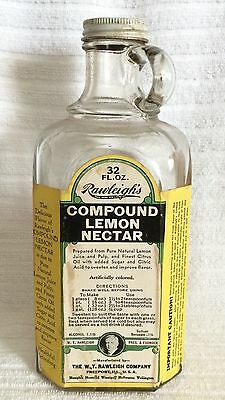 RAWLEIGHS Compound Lemon Nectar Flavor 32 oz Bottle Jug Great Label Large 8 1/2""