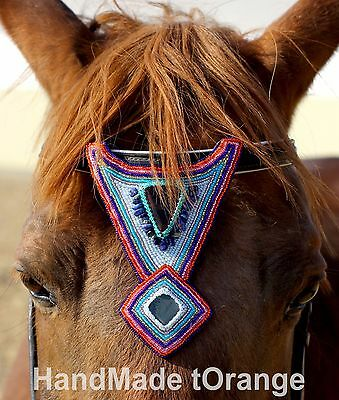 Handmade Beaded Headstall Browband Decorations Horse Bling Crystal Beads Jewelry