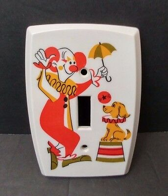Vintage Plastic Circus Clown Dog Light Switch Wall Cover Plate Play Room Holton