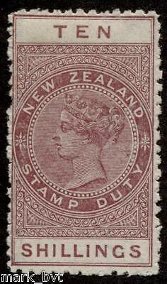 New Zealand NZ 10/- Brown-red QV long-type postal fiscal MH
