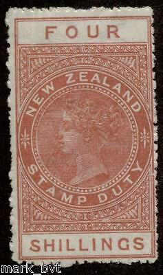 New Zealand NZ 4/- Red-brown QV long-type postal fiscal MH