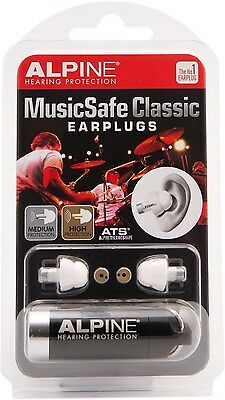 Alpine Hearing Protection MusicSafe Classic White Earplugs for Musicians New