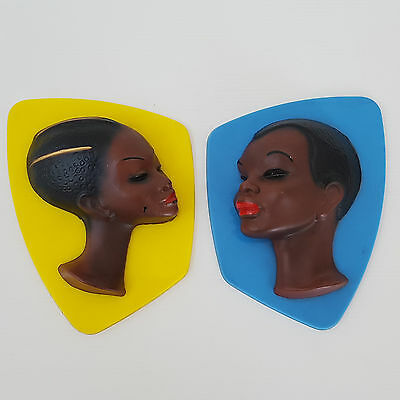 Set Of 2 Decorations Wall Plastic African 1950 Vintage Rockabilly