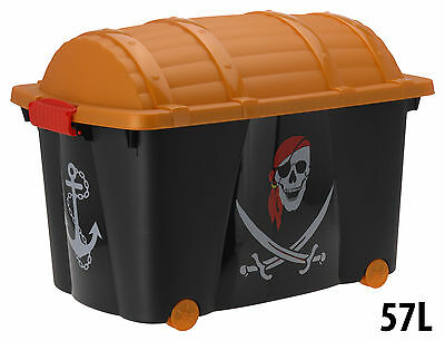 Toy Box with Pirate Design with Wheels Children's Storage Box Toy Chest