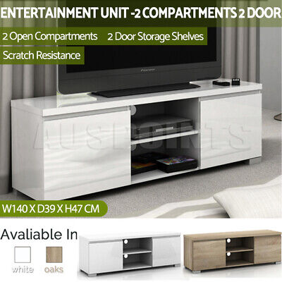 TV Stand High Gloss 2 Compartment 2 Door Entertainment Unit Cabinet  Storage