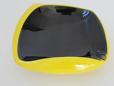 Ashtray Ceramic Yellow & Black 1950 Vintage 50S Rockabilly 50's Years 50