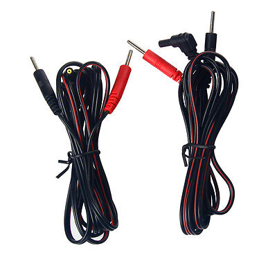 2 X Electrode Lead Wires Jack 2.35mm Plug 2.0mm Replacement Cables for TENS
