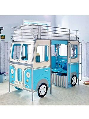 Boys Blue Campervan bed with desk, storage and seating