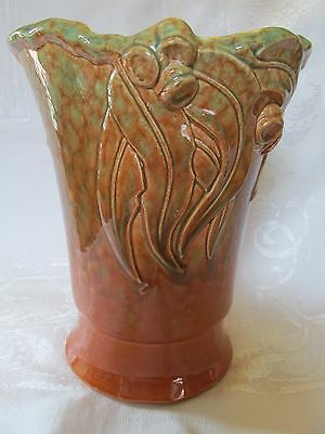 Large Gumnut Gum leaf Vase Aus Australian Pottery Diana Numbers to base