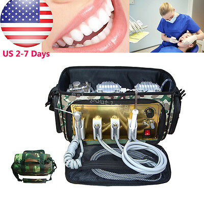 Portable Dental Unit +Air Compressor Suction System 3 Way Syringe KIT Machine US