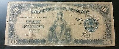 1933 $10 Peso US/Philippines Note Rare 4 digit serial number (SALE)