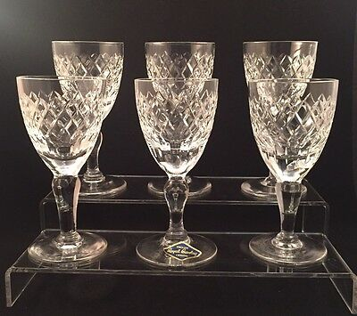 6 Royal Brierley COVENTRY Cut Sherry Port Glasses Signed 1st Quality 12cm Tall