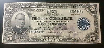 1921 $5 Peso Philippines Bank Note US commonwealth Note ( SALE )