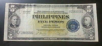 1944 $5 Peso US/Philippines Treasury Note Series #66 VICTORY NOTE ( SALE )