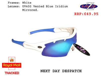 RayZor Uv400 White Sports Wrap Sunglasses Vented Blue Mirrored Lens RRP£49 (220)