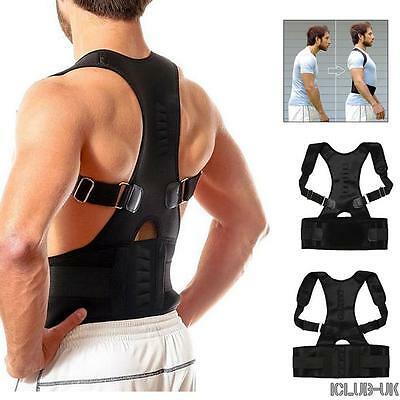 Magnetic Back Posture Support Shoulder Brace Corrector Adjustable Belt Body UK