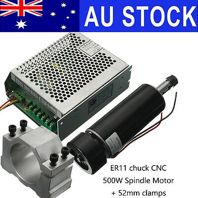 AU 500W ER11 Chuck CNC Spindle Motor + 52mm Clamps + Speed Governor For CNC DIY