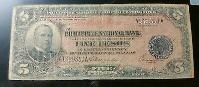1916 $5 Peso Philippines Bank Note Rare McKinley note ( SALE )