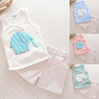 2PCS Toddler Kids Baby Boy Vest T-shirt Tops+Shorts Pants Summer Outfits Clothes
