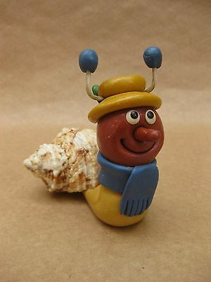 Magic Roundabout ~ Brian the Snail ~ Vintage Ceramic Figure ~ Real Shell