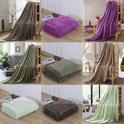 Super Soft Flannel Throw Blanket Plush Sofa Bed Cover Warm Blanket Home Decor