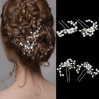 Fashion Wedding Bridal Pearl Flower Crystal Hair Pins Clips Bridesmaid Clips