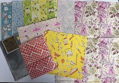 Lot of vintage wrapping paper wedding floral kitchen crafts scrapbooking collage