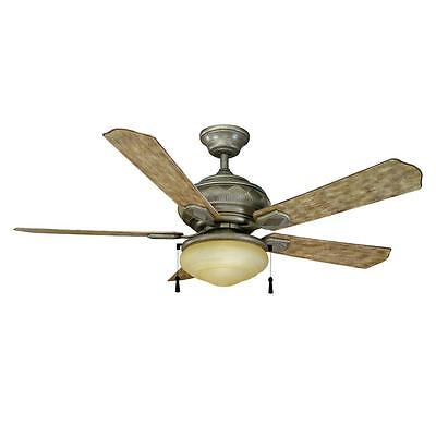 Hampton Bay Portsmouth 52 in. Outdoor Cambridge Silver Ceiling Fan with Light