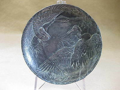 Antique / Vintage Small Oriental Metal Dish ~ Japanese ~ Cranes & Bamboo
