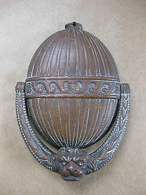 Antique / Vintage Brass Door Knocker ~ Egg / Nut Shaped with Lion Head Knocker