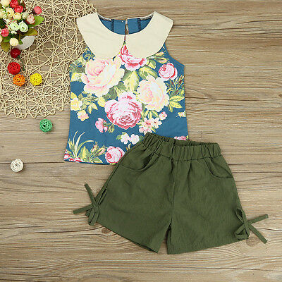 2PCS Kids Toddler Baby Girl Floral Shirt Tops+Shorts Pants Summer Outfit Clothes